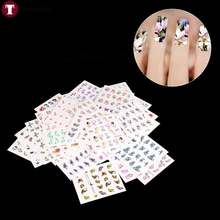 50 Sheets Nail Art Water Transfer Stickers Full Cover Flowers Manicure Tips Fingernails Decals  DIY Decor Temporary Tattoos Tool