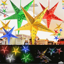 Buy 45cm Folded Pentagram Paper Star Lantern 3D Hanging Paper Star Wedding Birthday Home Evening Party Christmas Tree Decoration for $1.99 in AliExpress store