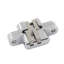 2pcs 59.2x36mm Invisible Cross Door Hinge 2# Zinc Alloy Concealed Hidden Hinges Fit for 20mm Thickness Door