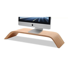 SAMDI - Laptop Bamboo Wood Stand Wooden Notebook Desktop Holder PC Display Riser Bracket Stand for Apple iMac Macbook Computer(China)