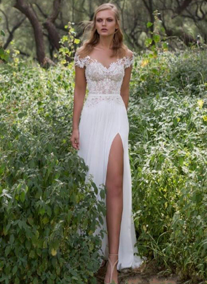 Thinyfull Simple Backless Side Slit Chiffon Beach Wedding Dress 2019 Court Train Cap Sleeve Plus Size Boho Country Wedding Dres
