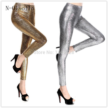 2017 New Fashion Wholesale Faux Leather Pants Metal Texture Light Snake Gold/Silver/Rose/Green/Blue/Black/Red Sexy Slim Leggings(China)