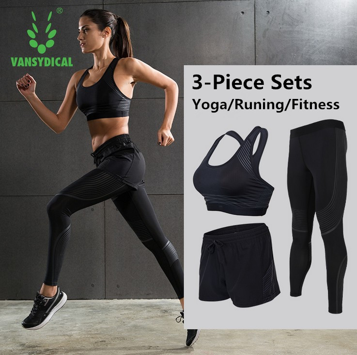 Women Training Sportswear Yoga Fitness Gym Workout Compression Tight Bra&amp; Pants &amp; Short Sleeve Shirt Shockproof <br>