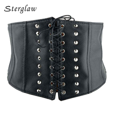 Buy 2017 New brand design women wide Belt Tied rope women elastic waistband cintos female leather rivet wide belt cinturones A009 for $10.93 in AliExpress store