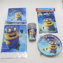 81pcs/lot Minions Tablecloth Birthday Party Gifts Bags Decorations Plates Paper Cups Glass Napkins Favors Supplies 20 Kids Set