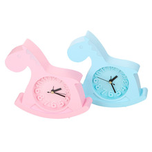 Pink And Blue Cute Trojan Horse Alarm Clock Children Bedroom Decor Alarm Clock Quartz Table Clock Modern Snooze Alarm Clocks(China)