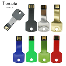 Mini Metal Aluminium Key Shape USB Flash Drive 8GB 16GB 32GB 64GB USB Memory Stick 128GB PenDrive Flash Drive USB Drive(China)