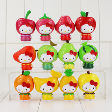 12pcs/lot hello kitty cos fruit apple banana orange hellokitty PVC figure toy