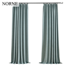 NORNE Solid Faux Linen Blackout Curtain Thermal Insulated Drapes Noise Blocking Window Curtains Blinds for Bedroom Living Room(China)
