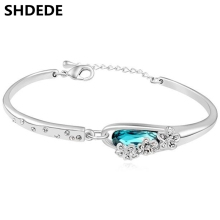 Korean Fashion Cuffs Bracelets Blue Crystal from Swarovski Charm Bracelets For Women Trendy Jewelry 16565
