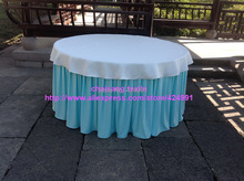 2pcsThicker #44 Aqua 470cmx75cm Organ Wrinkled Table Skirting with Clips For Events&Birthday Party Table Decoration,(China)