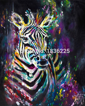 Modern Abstract Style Colorful Rabbit Oil Painting on Canvas Animals Zebra Oil Pictures Decorative Painting Wall Art No Frame(China)