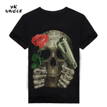3D Printed Skull Floral T-shirt for men Newest Fashion Designed Tees Tops Punk Rock Style Cotton Man t shirt Plus Size,YK UNCLE(China)