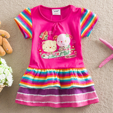 Retail 2016 Christmas Costume autumn girls casual dress lovely little party dress baby girl flower dress children clothes