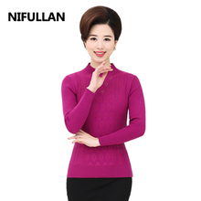 NIFULLAN 10 Colors Fall Winter New Fashion Women Warm Jumper Turtleneck Pullover Sweater Diamond Fashion Solid Color Bottom Top(China)