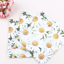 20 Pcs/pack European Style Daisy Disposable Napkins Wedding Supplies Party Decor Kids Cartoon Birthday Dining-table Decoration