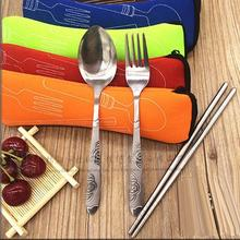 Outdoor Camping Cutlery Set 3PCS Portable Dinnerware Set Travel Picnic Tableware Bag Orange(China)