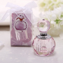 Wholesale Price Sparle Crystal Faceted Purple Or Pink  Mini Perfume Bottle Glass Oil Bottle Party Favor  For Lady Free shipping