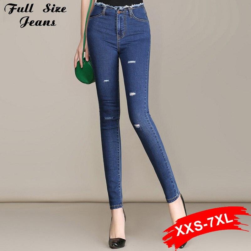 Hot Jeans Fall Fashion Plus Size Stretch Ripped Skinny Capris Jeans Elastic 4Xl Xs 3Xl 6Xl 7Xl High Waist Dark Blue Pencil PantsОдежда и ак�е��уары<br><br><br>Aliexpress