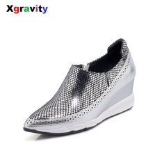 Xgravity Dropshipping New Spring Autumn Hot Lady High Heel Wedge Shoes Elegant Genuine Leather European American Lady Shoes C007(China)