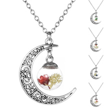 DIY Handmade Moon-Shaped Glass Wish Bottle Necklace Dried Flower Seeds Pendant Jewelry Wish Bottle Glass Necklace Gifts2017