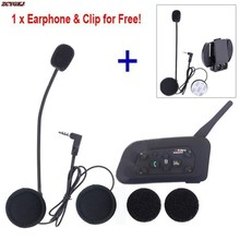 1 pcs Earphone Clip Free + Bluetooth Comunicador Capacete Intercom V6 Intercomunicador Motorcycle Communication Moto Ski Helmet(China)
