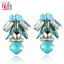 Fashion Personality Cute Punk Earrings Pink Blue Acrylic Stud Earring Women Party Jewelry Christmas Gift 2016 New Arrival