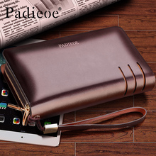 Padieoe Business Men's Leather Wallets High Quality Double Zipper Clutch Bag Luxury Organizer Long Wallets Coin Purse PB161035(China)