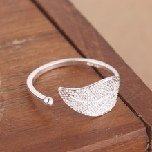 yiustar silver plated Plant Jewelry Leaf Ring for women Fashion Adjustable Feather Female Ring Wedding Gift(China)