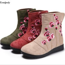 Buy New genuine Chinese wind winter boots folk style embroidery cloth embroidered cotton Women's boots old Beijing Casual shoes for $20.54 in AliExpress store