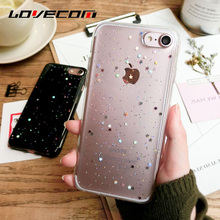 LOVECOM For iPhone 7 7 Plus 6 6S Plus Shell Glitter Powder & Shining Star Back Covers Soft TPU Anti Shock Mobile Phone Cases