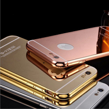 Luxury Hybrid Mirror Aluminum Frame + PC Cover For iphone 6 SE 5 5s 6s 7 Plus Huawei Samsung S6 S7 Edge P8 P9 Lite Phone Cases