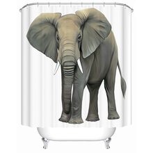 WARM TOUR Classic 3d Pattern Animal Polyester Fabric Printing Shower Curtain Elephant Deer Lion Bathroom Curtain for Wet Room