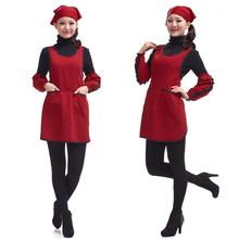 Fashion Double-Pocket Pullover Apron Kitchen Working Apron With Over Sleeves & Headscarf (Dark Red)