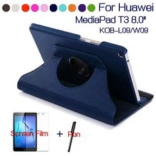 Rotating PU Leather Case for Huawei MediaPad T3 8.0 Honor Play Pad 2 KOB-L09 KOB-W09 Tablet Funda Cover+Free Screen Film+Pen(China)