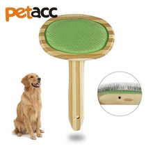 PETACC Slicker Pet Grooming Brush Dense Needle Pet Combs Cat Dog Hair Comb Bamboo Pet grooming Tool for Dogs and Cats, Green