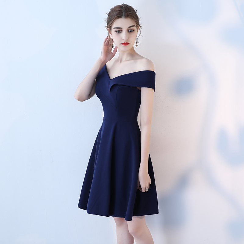 Real Picture Navy Prom Dresses 2018 Sexy Off Shoulder Prom Dress Short Party Boat Neck Simple Elegant Prom Gowns Evening 13