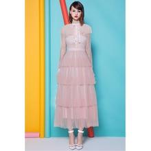 sweet lolita bling gold glitters pink mesh dress ribbon bow tie collar  button multi layers long d6227ca41f55