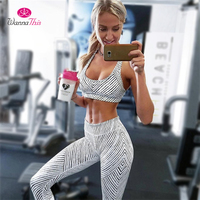 WannaThis Summer Sporting Two Pieces Sets Women Fitness Elastic Crop Top Sweatwear Zebra Workout Leggings Tracksuit Hot 90s Sets