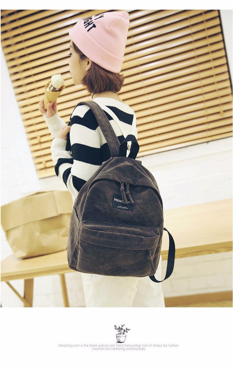 2016 New Women Backpack Preppy Style Suede Backpacks Teenage Girls School Bags Vintage Rivet Travel Backpack Burgundy Gray Black (28)