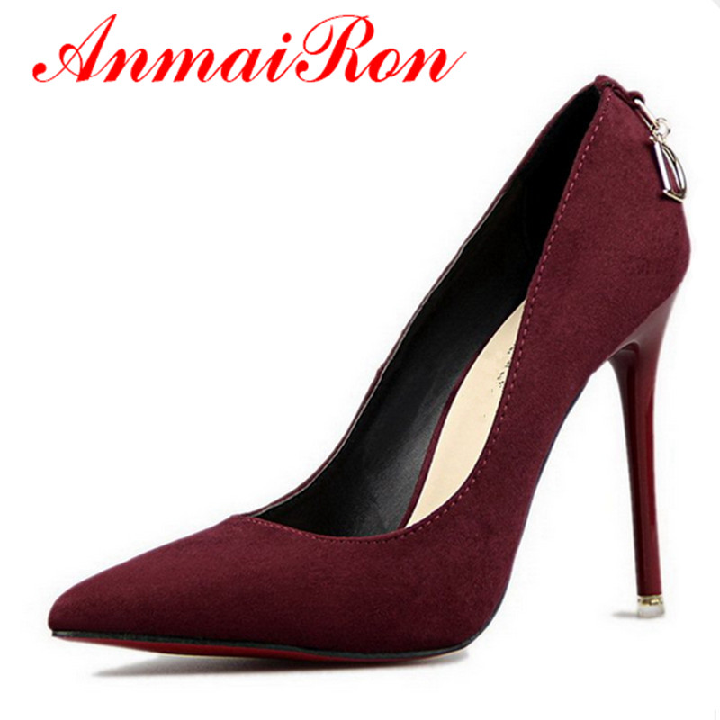 ANMAIRON Shoes Woman 5 Colors Plus Size 34-46 2017 Fashion High Heels Women Pumps Classic White Red Beige Sexy Wedding Shoes<br><br>Aliexpress
