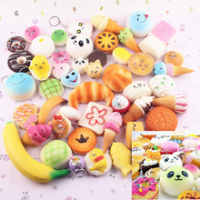 30pcs Cute Jumbo kawaii Squishy Slow Rising Peach Pendant Soft Mini Bread/Cake/ice Cream Squishies Mobile Phone Straps Kids Gift