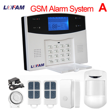 LOFAM wireless burglar GSM alarm system LCD display PIR infrared door sensor home security alarm wired Siren Kit SIM SMS Alarm