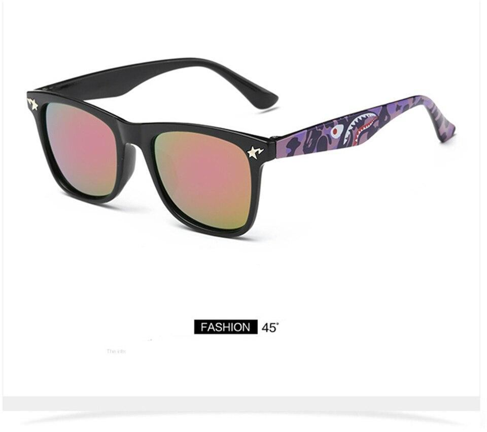 Fashion Kids Sunglasses lovely Sunglasses Mosaic Boys Girls Pixel Eyewares With Case Children Gift (14)