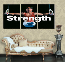 3 pieces modern wall art picture Strong strength support gymnastics on painting canvas for living room decor and wall poster(China)