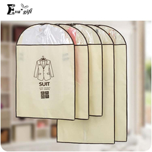 Dust-proof clothing storage bag Suit protection cover Non-woven materail clothes hanging bag Foldable save space 5 pcs/set(China)