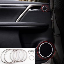 6 Pcs/lot for Lexus RX 2016 Stainless Steel Car Door Audio Speaker Trim Covers Stickers, car styling