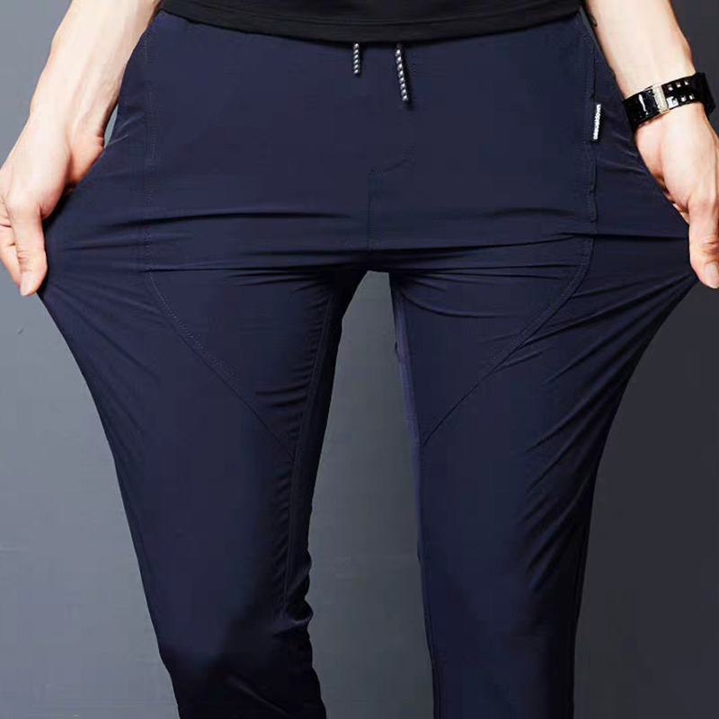Summer Thin Business Casual Pencil Pants Men Solid color Black Elastic waist Trousers