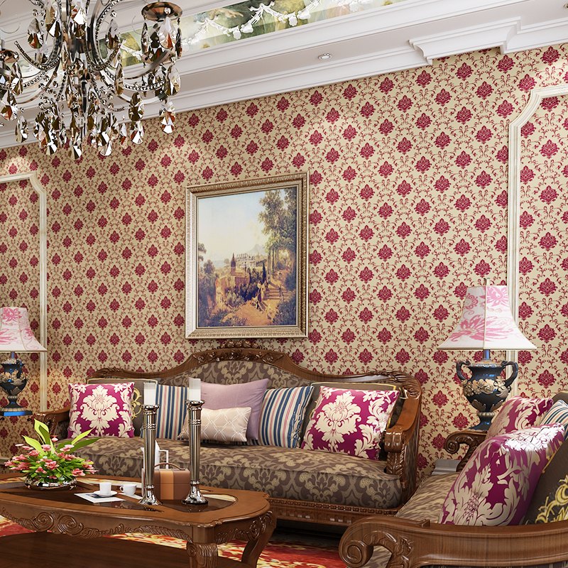 beibehang grade European non - woven wallpaper thre-dimensional flocking bedroom living room TV backdrop environmental wallpaper<br>