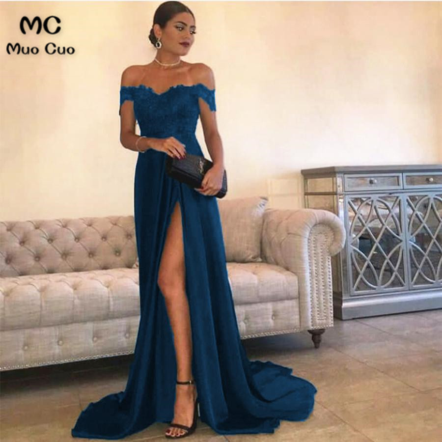 Sexy Leg Slit Long Satin Sweetheart Prom Dresses Lace Off The Shoulder Evening Gowns432